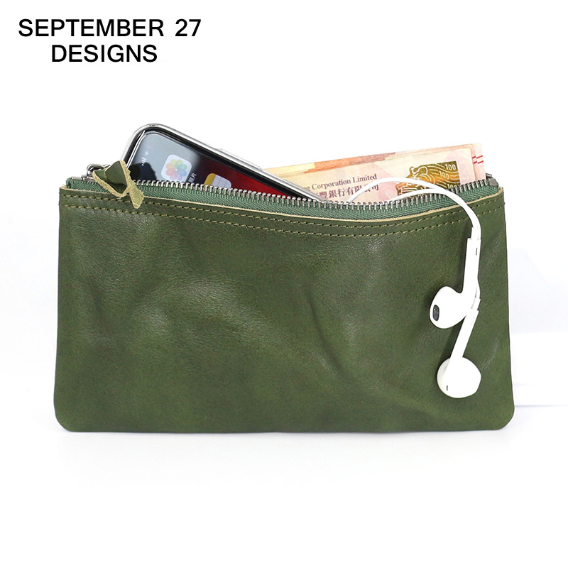 Women's Long Wallet Genuine Leather Fashion Zipper Slim Purses Cowhide Ladies Phone Wallets Female Small Coin Purse Money Bag
