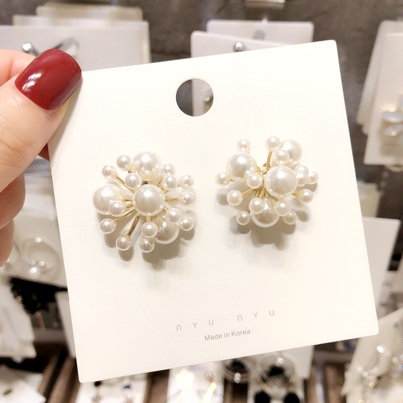 2019 New Design Gold Sliver Big And Small Pearl Flower Fireworks Patchwork Big Earrings For Women Wedding Jewelry Oorbellen