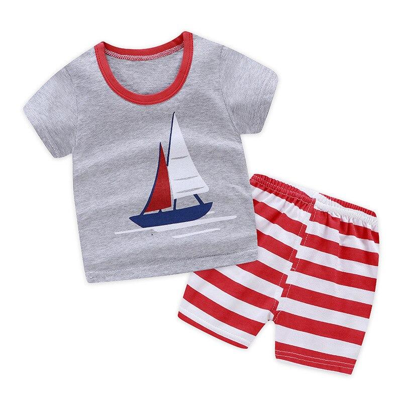 2 Pcs Suits Summer Sailboat Children Cotton Baby Boys And Girls T-shirt+shorts