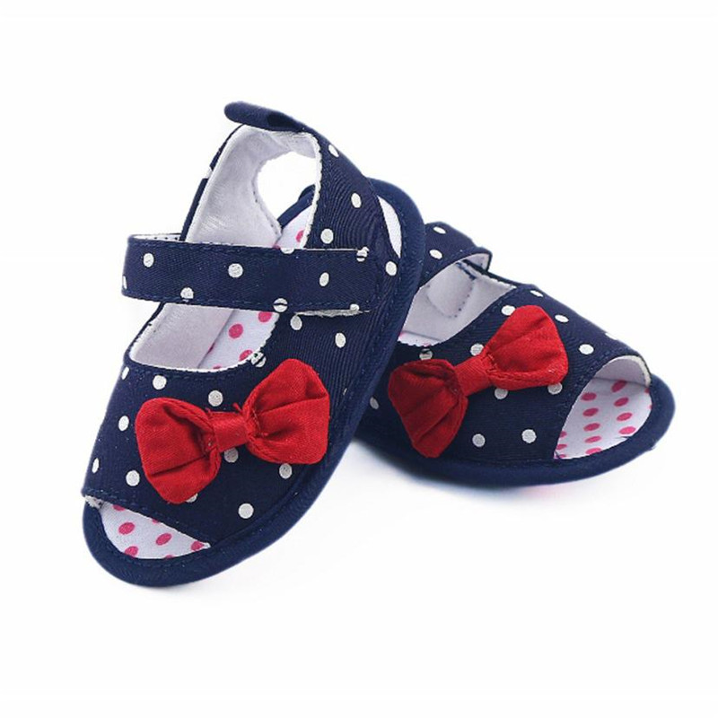ARLONEET Newborn Baby Sandals Boy Girl Dot Anti-slip Prewalker Soft Shoes Toddler Bow Walking Crib Shoes Drop Shipping 30S64