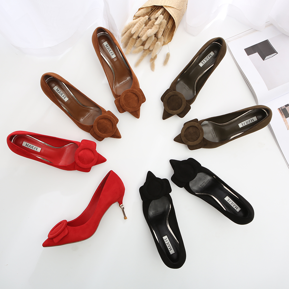 HEYIYI Newest Women Dress Pumps Thin skull High Heels Suede Leather Shallow Pointed Toe Circle Red Black Color Fashion Shoes