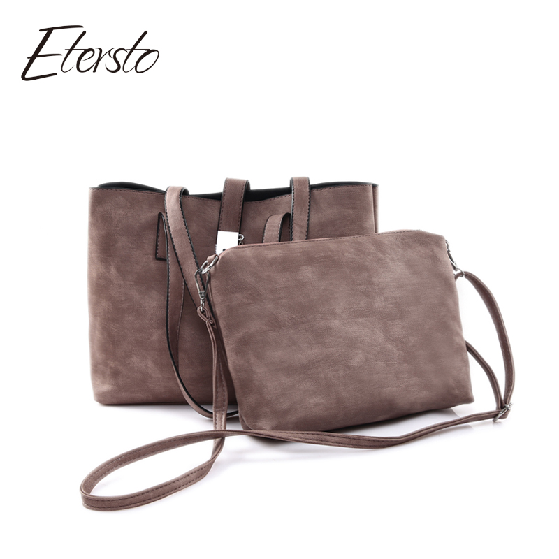 Etersto 2017 New Bag Casual Totes Sequined Chains Women Leather Handbags Hasp Composite Crossbody Bag Set Solid Shoulder Bags