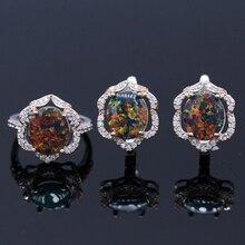 Conjunto de Joyería de moda Elegante de Cristal Zirconia Coloreada del Ópalo de Fuego Conjunto Del Anillo Del Pendiente Para Las Mujeres