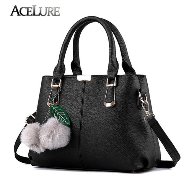 Charm in hands Casual 2017 New Women Shoulder Bag PU Leather Fashion Fur adornment handbag Women crossbody bag Luxury Women Bags
