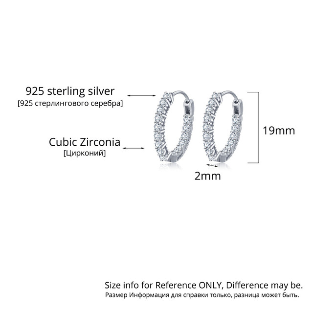 925 Sterling Silver Hoop Earrings Cubic Zirconia