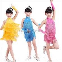 Free Shipping New 110cm-160cm Children Kids Girls Sequin Fringe Dance Dresses With Latin Dress