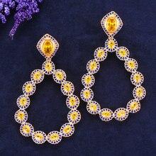 SISCATHY новые модные ювелирные изделия Кубический Цирконий Кристалл Висячие серьги для женщин большие висячие массивные серьги Модные ювелирные изделия