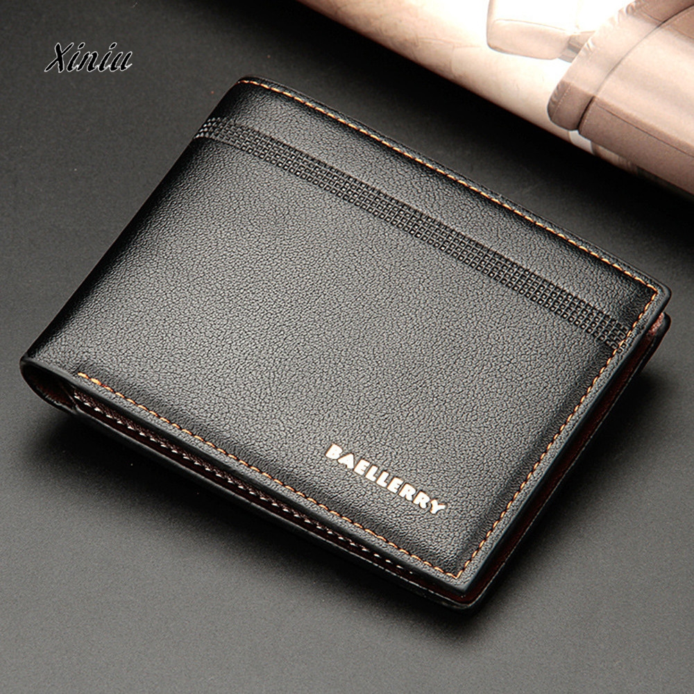 Men Bifold Business Leather Wallet ID Credit Card Holder Purse Pockets Male Bifold Slim Mini Travel Wallet High Quality williampolo mens mini wallet black purse card holder genuine leather slim wallet men small purse short bifold cowhide 2 fold bag