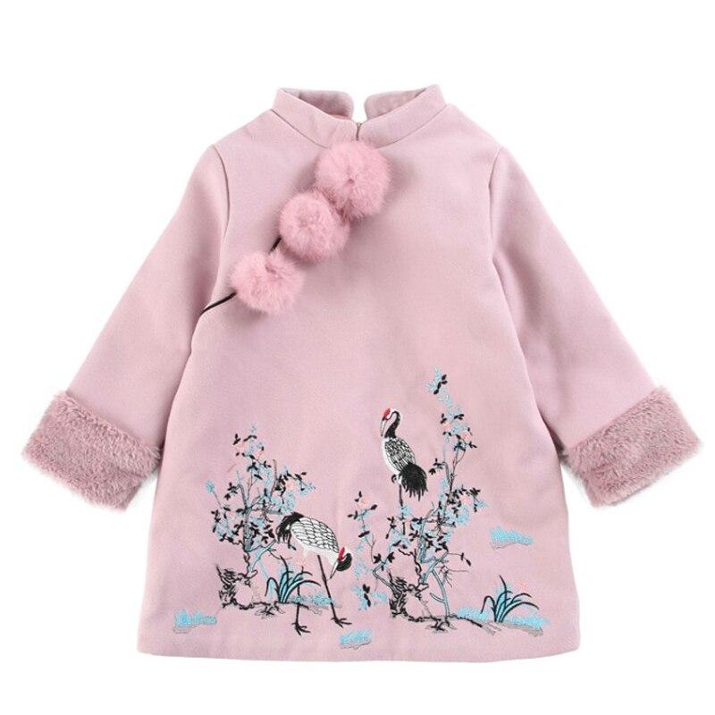 DZIECKO Girls Cheongsam Dresses 2019 New Winter Chinese Clothes Thick Warm Baby Girls Long Sleeve Princess Dresses For 2 8 Years