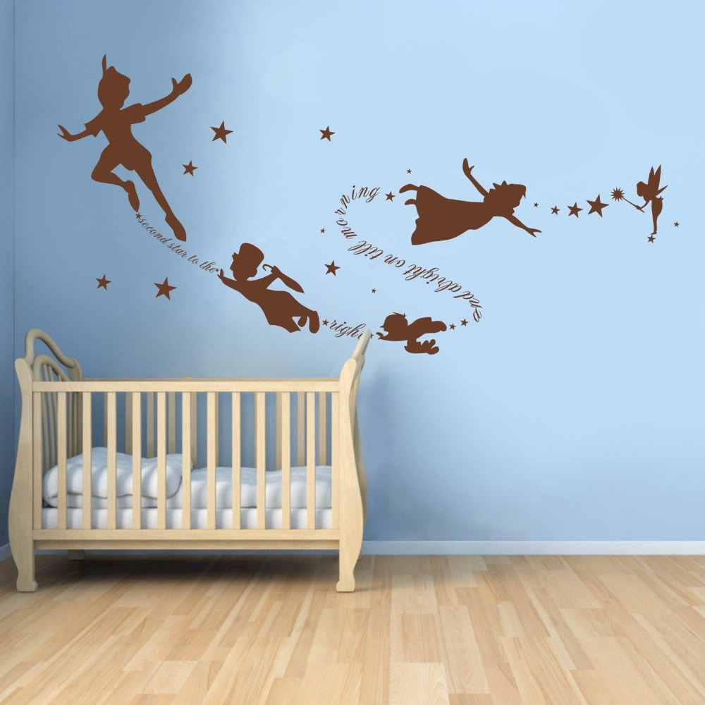 Tinkerbell peter pan wall decal removable kid second star quote tinkerbell peter pan wall decal removable kid second star quote vinyl poom decor 22inx58in in wall stickers from home garden on aliexpress alibaba amipublicfo Gallery
