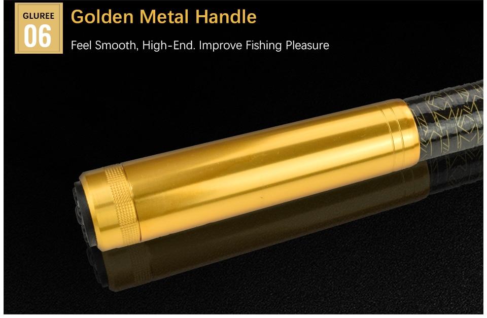 GLUREE 99%Carbon Portable Telescopic Fishing Rod Sea Rod1.82.12.42.73.0M Ocean Rod Spinning Fishing Tackle Golden Handle (15)