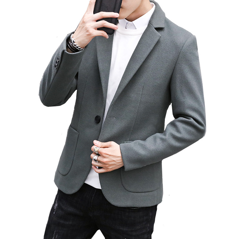 Autumn and winter blazer men's wool trend fashion simple woolen high quality solid color slim suit jacket men's suit coat