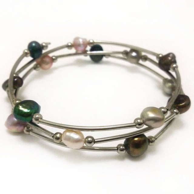 7.5-8 inches 8-9mm Triple-Color Natural Baroque Pearl Lady Memory Wire Bracelet