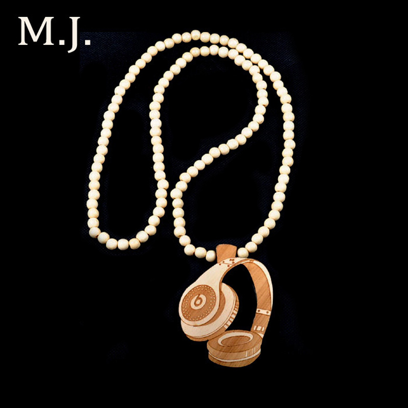 Vintage New Brand Hip Hop Headset Wood Necklace Chains For Men Long Bead Chain Male Pendant Necklace Jewelry Gift Collier Bijoux