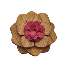 Wooden Brooch Pin Multi Color Prom Flower