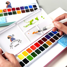 BGLN 24Colors Professional Solid Watercolor Painting Set Iron Box Bright Color Portable Watercolor Pigment For Artist