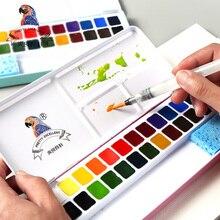 Хорошее BGLN 24 Цвета Профессиональные Твердых воды Цвет живопись железный ящик яркий Цвет Портативный воды Цвет пигмента для художника поставки