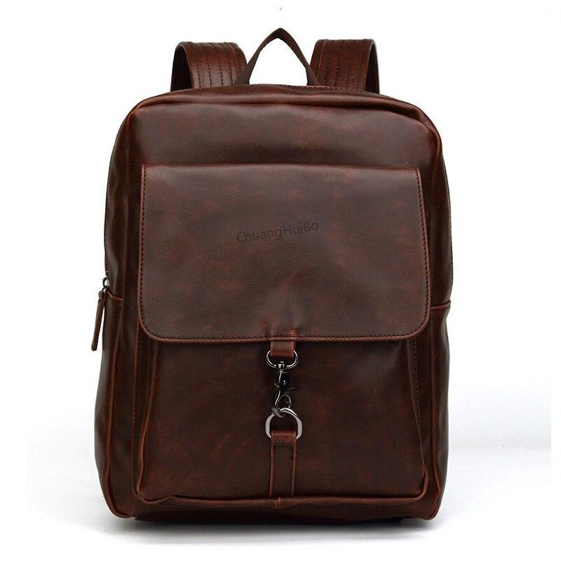 YGDB Women Men PU Leather Backpack Casual Travel School Satchel Rucksack Vintage Teenagers Book Bags Daypack