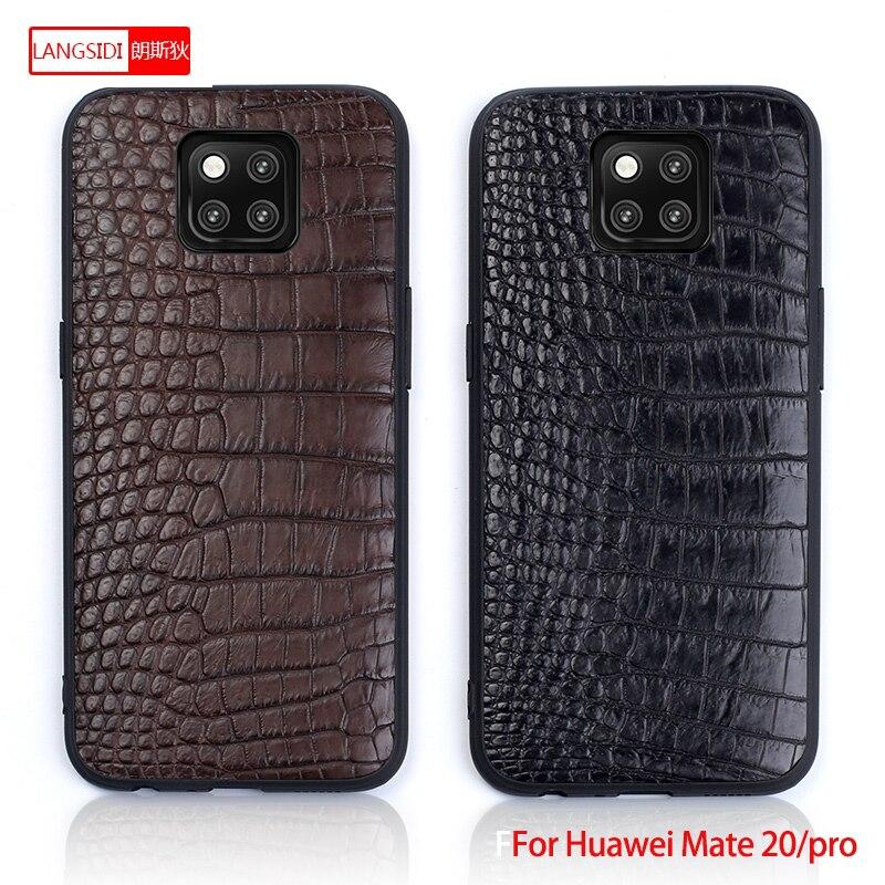 Pour Mate 20 LANGSIDI coque de téléphone Litchi grain pleine enveloppe Capa pour Huawei Mate 20 pro véritable Crocodile cuir fait à la main personnalisé