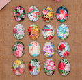 32X  13*18mm flowers ellipse Handmade Photo Glass Cabochons & Glass Dome Cover Pendant Cameo Settings