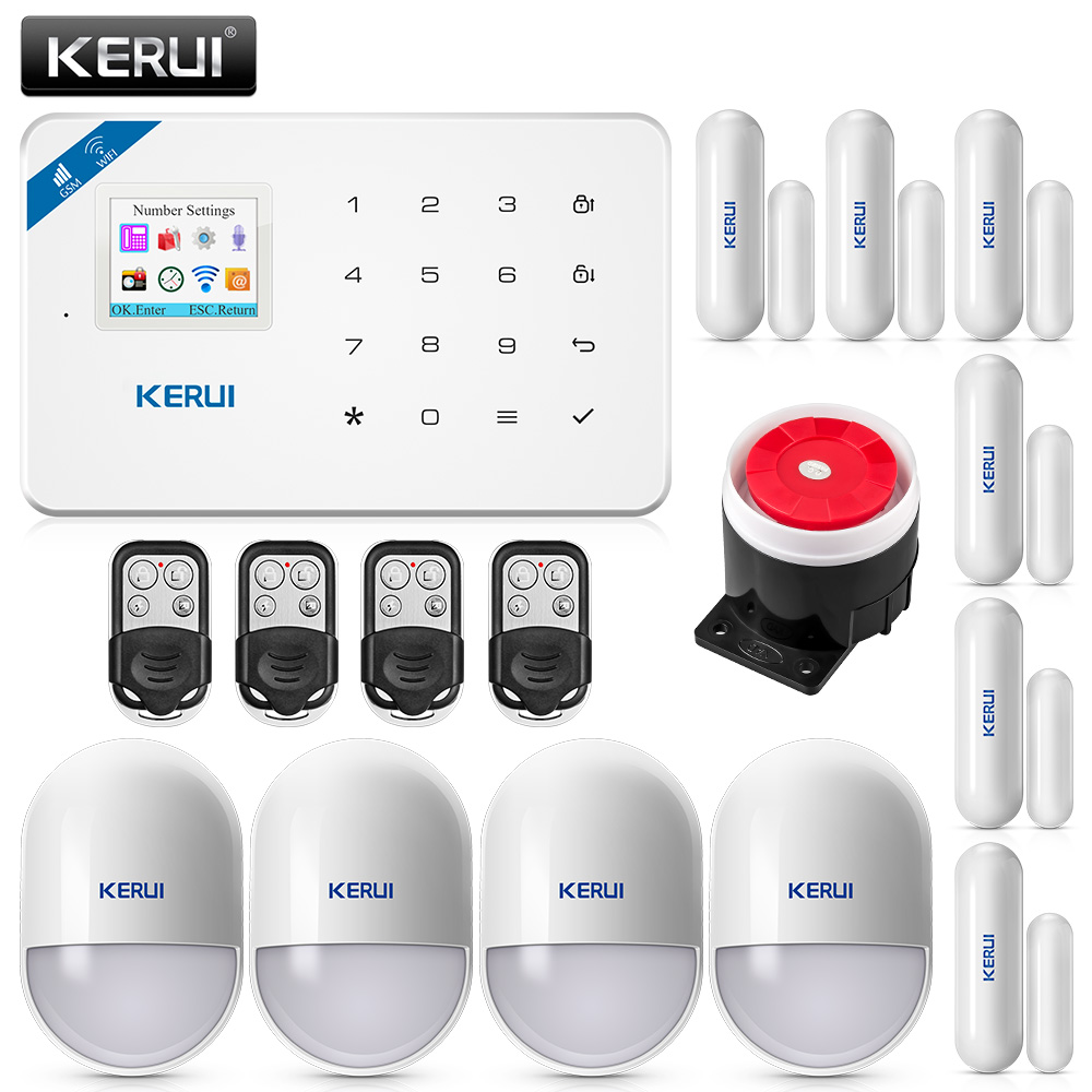 KERUI W18 Wireless Home Alarm Wifi GSM IOS/Android APP Mental Remote Control LCD GSM SMS Burglar Security Alarm System  Security kerui home gsm alarm system security ios android app control sms burglar alarm system kit with motion sensor door window sesor