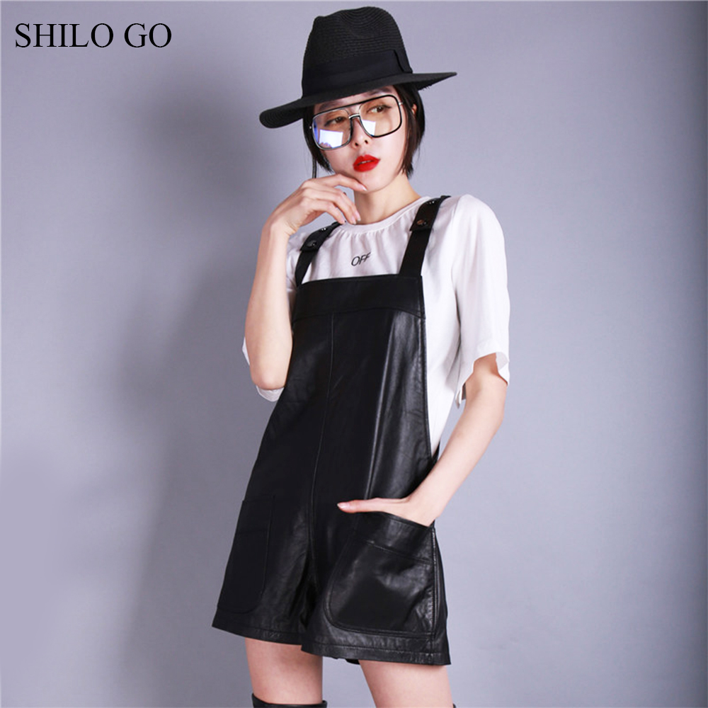 SHILO GO Overalls Womens Spring Fashion sheepskin genuine leather Overalls spaghetti strap causal loose wide leg shorts