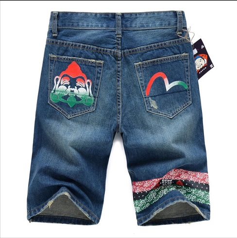 2019 Authentic Evisu Spring And Summer New Shelves Men's Casual Denim Shorts Breathable Wash Knee Fashion Men's Straight Pants