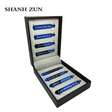 SHANH ZUN Custom Collar Stiffeners Love Notes Stainless Steel Blue Collar Stays in Gift Box for Dad 4 Pairs 2 Sizes