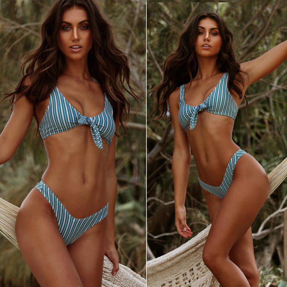 2019 Hot Bikini Sexy Women Push Up Padded Bra Monokini Women Bathing Suits Beachwear Swimwear Swimsuits Striped in Bikinis Set from Sports Entertainment