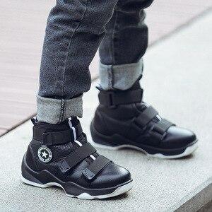 Image 4 - Sonbahar kış çocuk çizmeleri erkek ayakkabı hakiki deri moda ayak bileği kar botları peluş sıcak spor ayakkabı su geçirmez çocuk Martin çizme