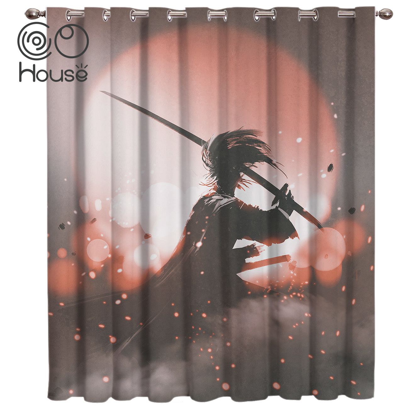 COCOHouse Japanese Anime Character Bushido Window Treatments Curtains Valance Curtain Lights Living Room Decor Bathroom image