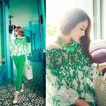 Sexy  Green Leaf Printed Chiffon Long Sleeve Loose Shirt