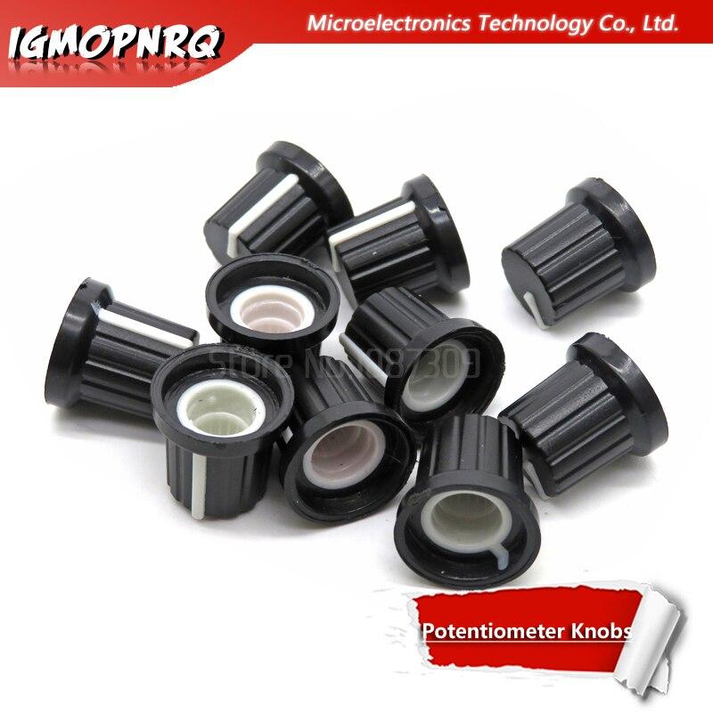 10PCS AD2 6mm Shaft Hole Dia Plastic Threaded Knurled Potentiometer Knobs Caps Wh148