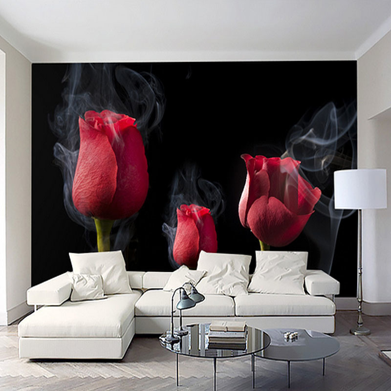Customize 3d HD Wallpaepr Red Rose Flower Art wall Bedroom Living Room TV Sofa Background Wall papers Home Decoration DIY Murals diy beads painting flower cross stitch wall decoration