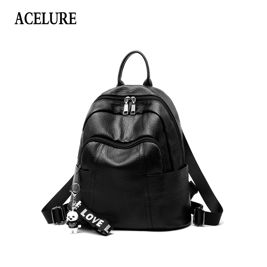 Acelure Pu Leather Women Backpack Fashion Solid School Bag For Teenager Girl Large Capacity Bear Pendant Design Casual Women Bag