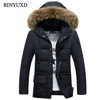 BINYUXD Winter Jacket Mens Cotton Parkas Solid Hooded Windproof Fake Fur Thick Warm Padded Overcoat