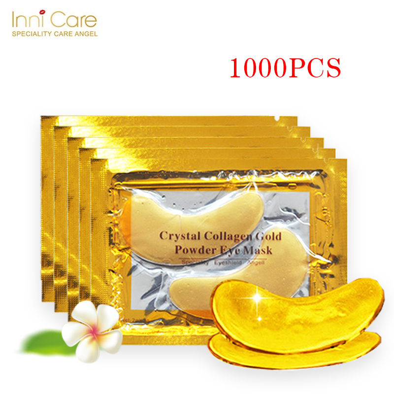 InniCare 1000pcs=500pairs Gold Crystal Collagen Eye Mask Patches Anti-Wrinkle Remove Black Eye Face Care eye pad