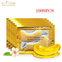 InniCare 1000pcs=500pairs Gold Crystal Collagen Eye Mask Patches Anti-Wrinkle Remove Black Eye