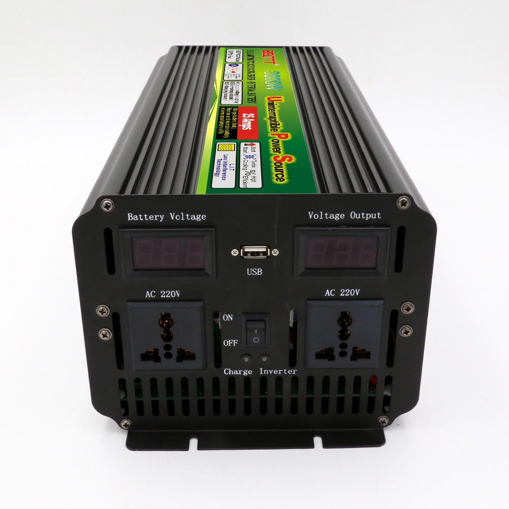 DC12V to AC220V 3000W 6000W UPS Automatic switch invertor with charge battery Free shipping cost dhl fedex free shipping home ups inverter 3000w peak 6000w dc12v to ac220v inverter 20amp charger