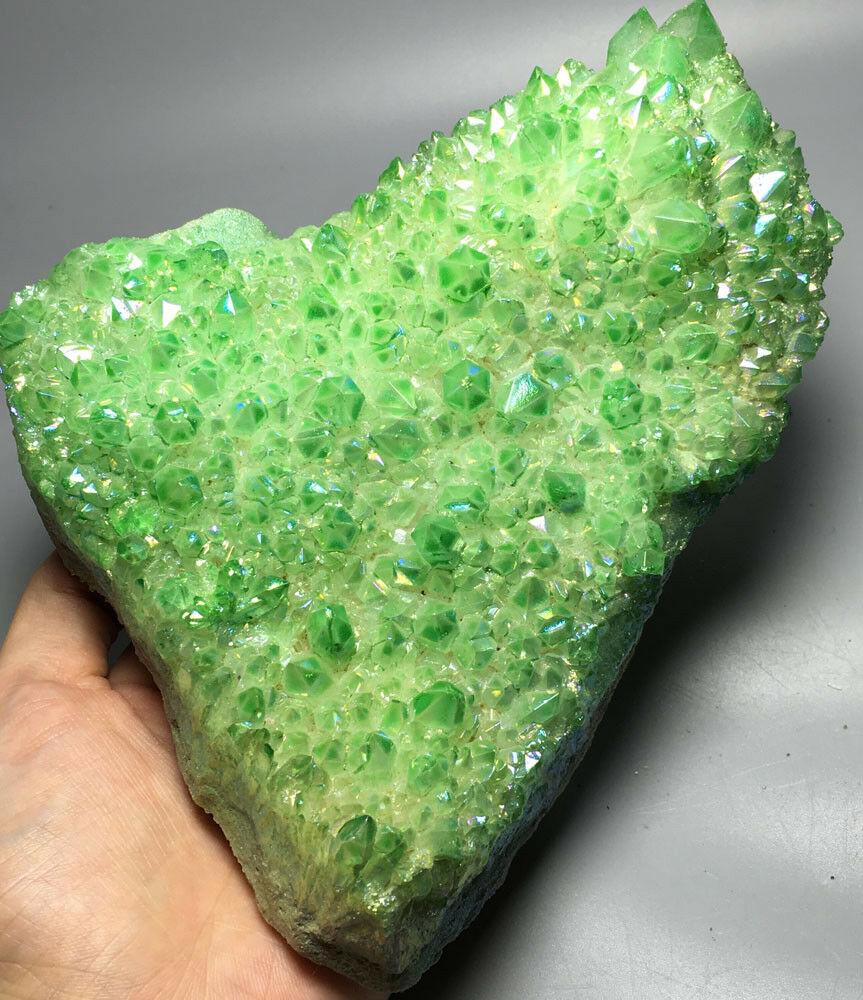 814g vert Aura Quartz cristal titane Bismuth silicium Cluster arc-en-ciel quartz cristal