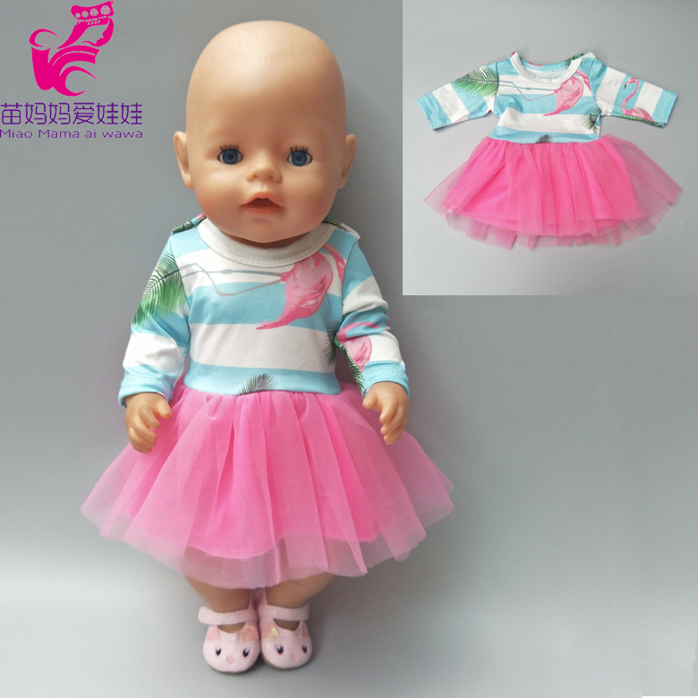 Doll clothes flamingo toys dress for baby born doll 18 inch girl doll pink dress baby girl birthday present american girl doll clothes superman and spider man cosplay costume doll clothes for 18 inch dolls baby doll accessories d 3