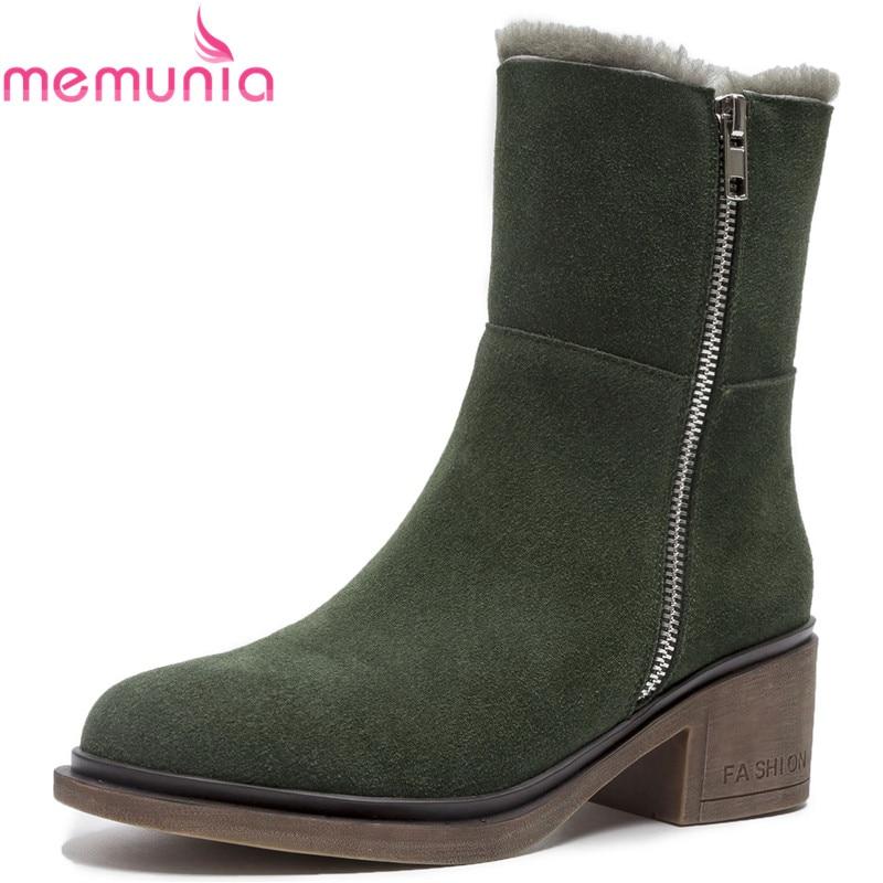 2018 verde Botas Vaca Negro Ante Memunia Llegada Mujer Para Piel Cremallera Con Tacón De Cuadrado Zapatos Redonda Militar Nueva Invierno Nieve Punta xqgFwtR
