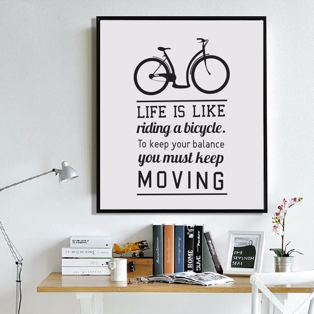 Bike Motivational Quotes Life Is Bike..Canvas Painting Poster Wall Art  Canvas Prints Wall