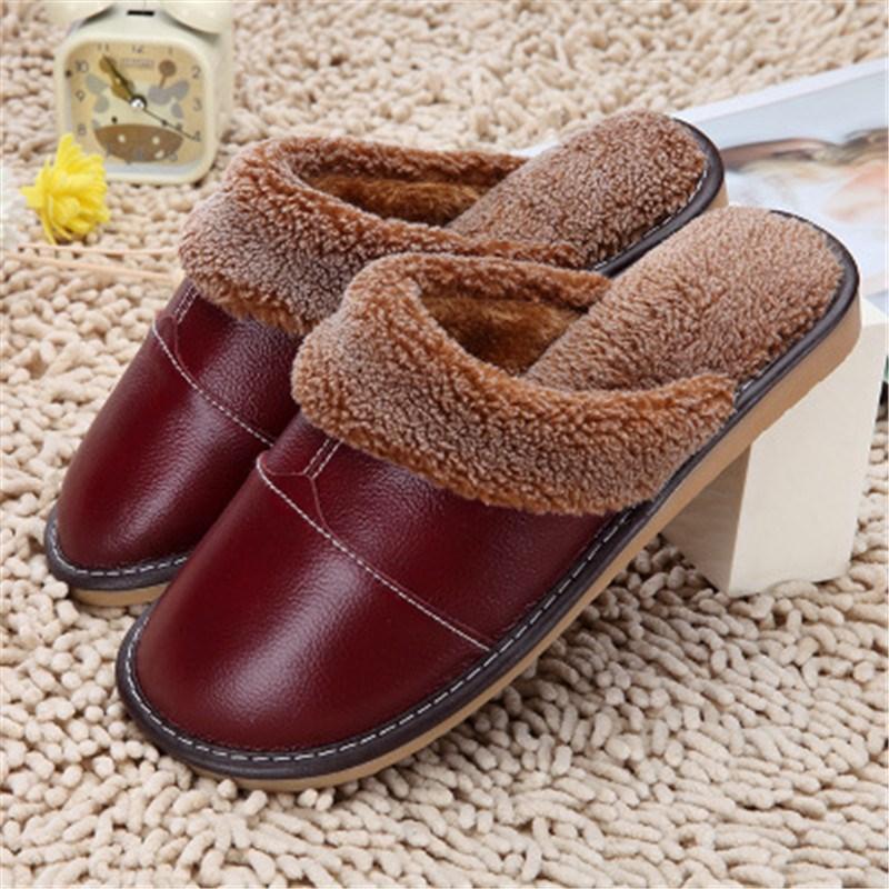 Ake Sia Hot Sale men Waterproof Winter Warm Home Slippers High Quality Soft Leather Casual Men Shoe Couple models Slipper каталог sia