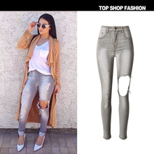 Plus Size Europe Fashion Big Brand Women's Elastic Denim Pants High Waist Hole Washed Scliping Slim Pencil Pants Casual Trousers
