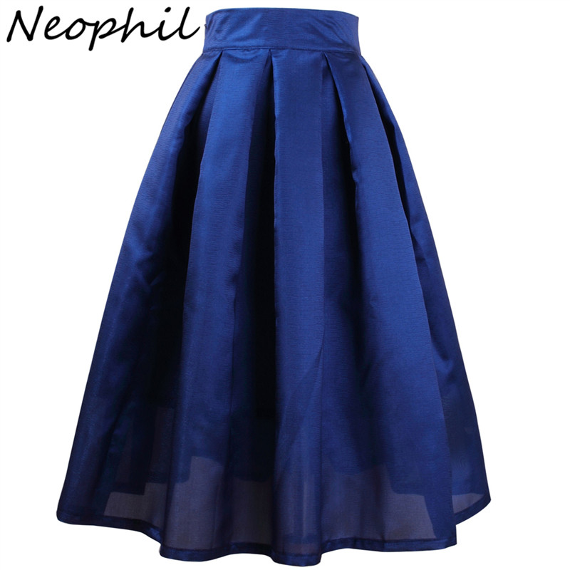 Neophil 2020 Summer Womens Skirts High Waist Pleated A-line Solid Vintage Retro Black Elegant Black XXL Jupe Plisse Femme S1704