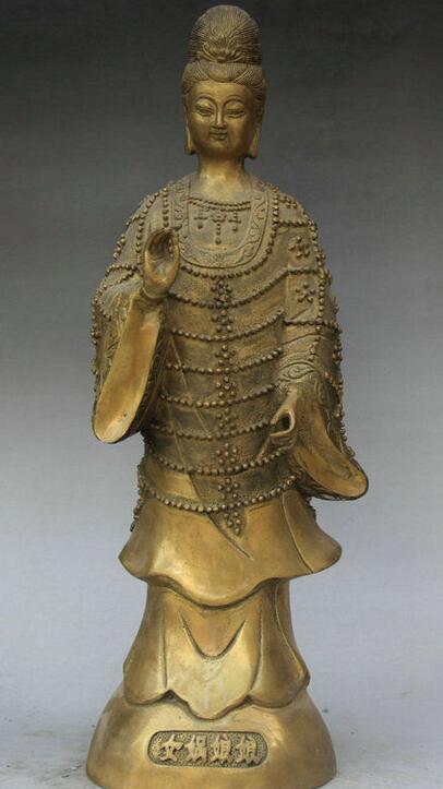 Подробная информация о 14 Китайской Народной миф Латунь Стенд NV wa императрица Мать Земля Бог статуя богини