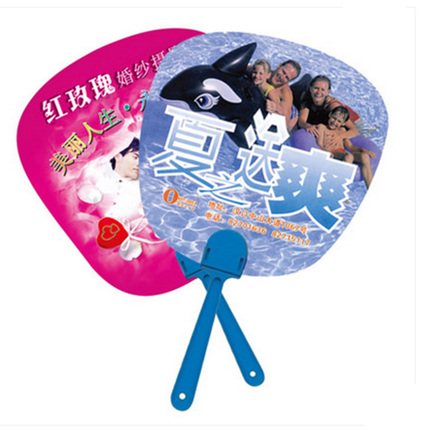 Customized logo printing 500pcs/lot Advertising plastic hand fan for promotion Cute cool PP hand fan for gift-in Party Favors from Home & Garden    1
