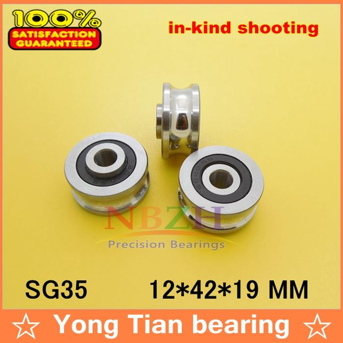 SG35 2RS U Groove pulley ball bearings 12*42*19 mm Track guide roller bearing SG12RS (Precision double row balls) ABEC-5 4mm walking guide rail groove u groove 604uu 4 12 4 5 mm 3d printer dedicated feeding roller bearings u604w5 u604zz
