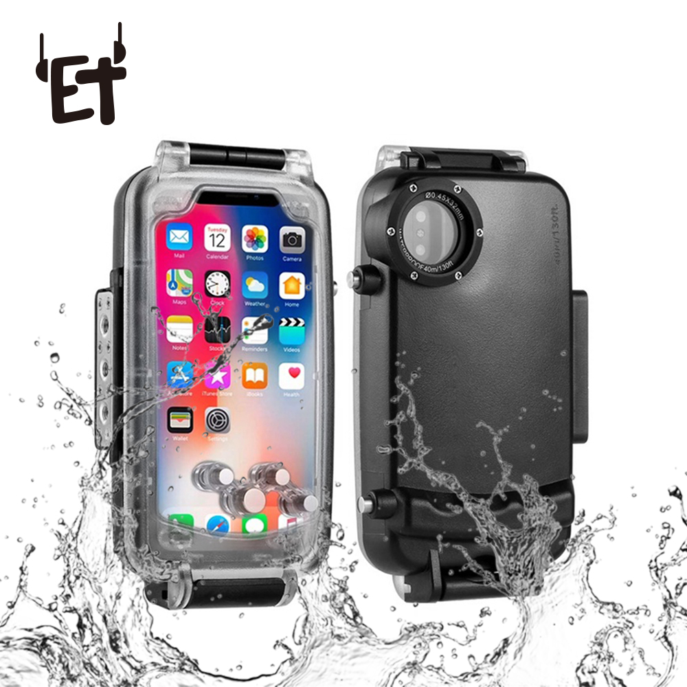 ET 40m Underwater Diving Phone Cover Swimming Waterproof Phone Case Clear Screen Shockproof Phone Case for iPhone X XS 7 8 Plus